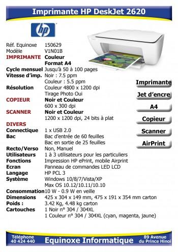Imprimante Jet d'encre HP DeskJet 2620