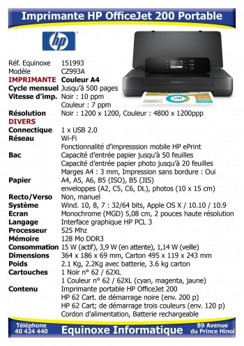 Imprimante Jet d'encre HP OfficeJet 200 mobile