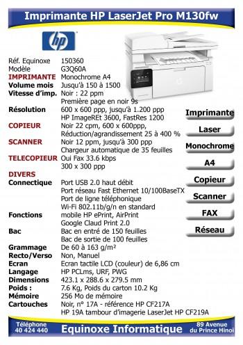 Imprimante Laser HP LaserJet M130fw
