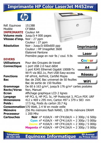 Imprimante Laser HP Color LaserJet M452nw