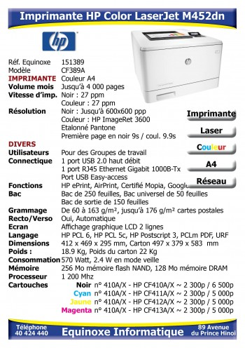 Imprimante Laser HP Color LaserJet M452dn